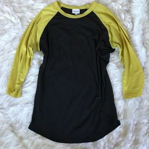 Black and Yellow Raglan sleeve top, LuLaRoe Randy